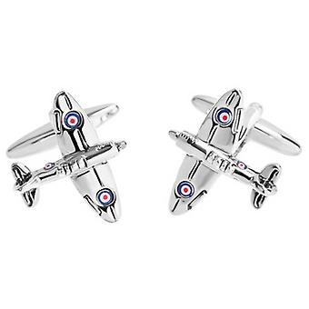 Zennor Spitfire Cufflinks - Silver/Navy/Red