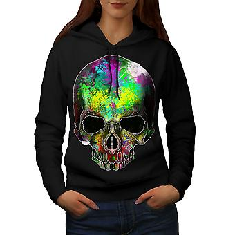Arcobaleno vernice Skeleton donne BlackHoodie | Wellcoda