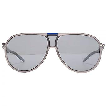 Polaroid Full Lens Pilot Sunglasses In Grey Mirror Polarised