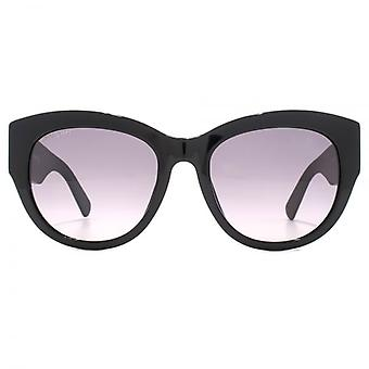 Swarovski Geometric Diamante Temple Cateye Sunglasses In Black