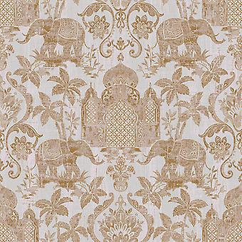 Indo Chic Wallpaper Elephant Temple Palm Trees Paste The Wall White Shiny Gold