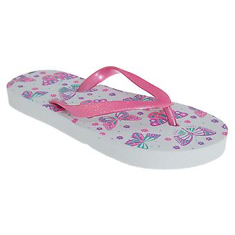 Sand Rocks Childrens Girls Butterfly Flowers Flip Flops