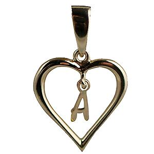 9ct Gold 18x18mm heart Pendant with a hanging Initial A