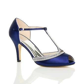 Ajvani womens high heel peep toe diamante t-bar wedding bridal evening prom sandals shoes