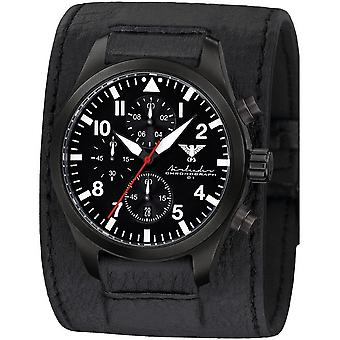 KHS Herrenuhr Airleader black steel chronograph KHS. AIRBSC. LK