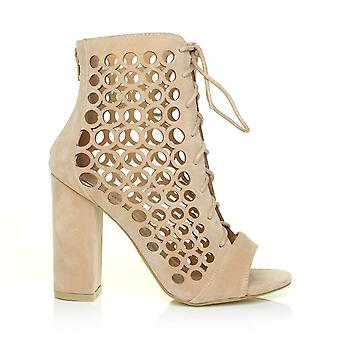 JUSTIN Nude Suede Tie Lace Up Caged Block Heel Peep Toe Ankle High Sandals