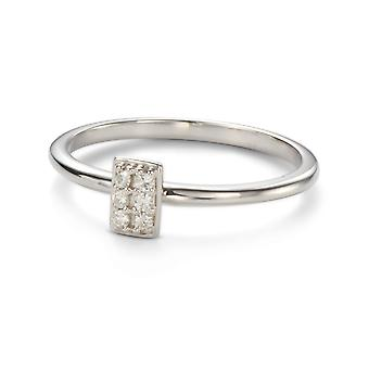Pour toujours classique 1,4 mm Moissanite Rectangle Vertical Pave Ring