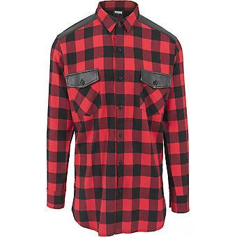 Urban classics shirt side zip leather shoulder flannel