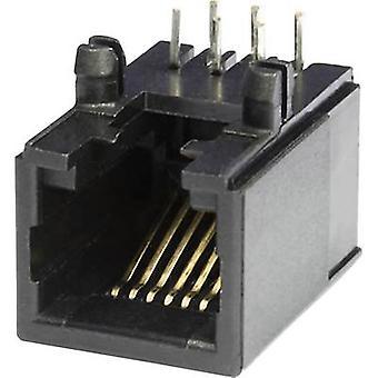 Modular mounted socket Socket, horizontal mount MEB6/6PL Black econ connect MEB6/6PL 1 pc(s)