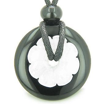 Dobbelt heldig Amulet Yin Yang Donuts blomst Onyx Jade åndelige onde øyet beskyttelse anheng halskjede
