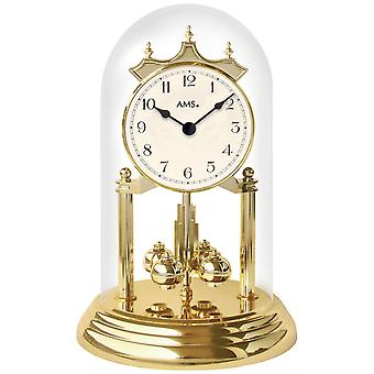 Table clock with rotating pendulum year rotating pendulum watch brass look golden quartz watch
