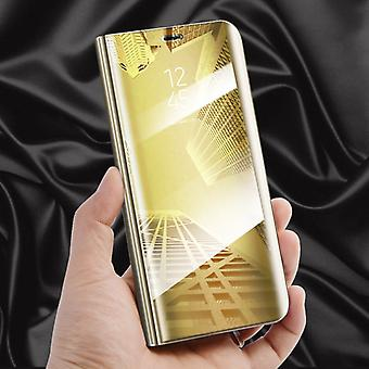 For Huawei Y5 2018 clear view mirror mirror smart cover gold protective case cover pouch bag case new case wake UP function