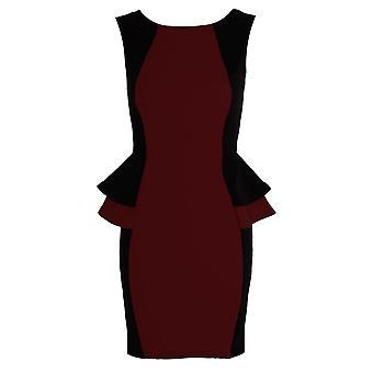 Peplum Frill Dress Ladies Contrast Black Side Double Short Size