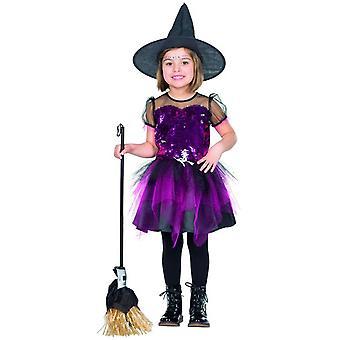Lantejoulas reversíveis de brilho bruxa vestem crianças Halloween fantasia meninas