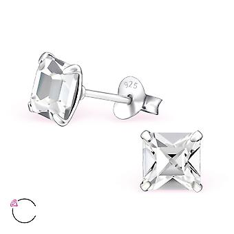 Square crystal from Swarovski® - 925 Sterling Silver Ear Studs - W28155X