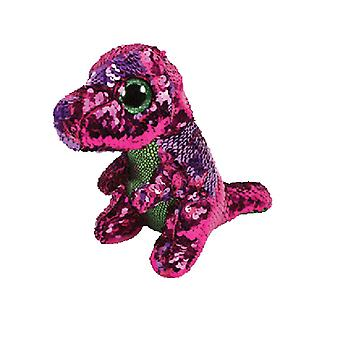 Beanie TY commutabile Stompy rosa/verde paillettes dinosauro