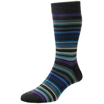 Pantherella Quakers All Over Stripe Merino Wool Socks - Dark Grey/Purple/Blue