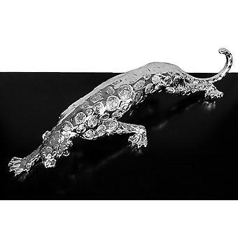 Leopard in silver, sculpture 94x20x15 cm