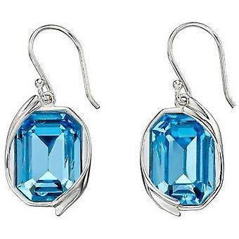 Elements Silver Swarovski Ribbon Detail Earrings - Silver/Blue