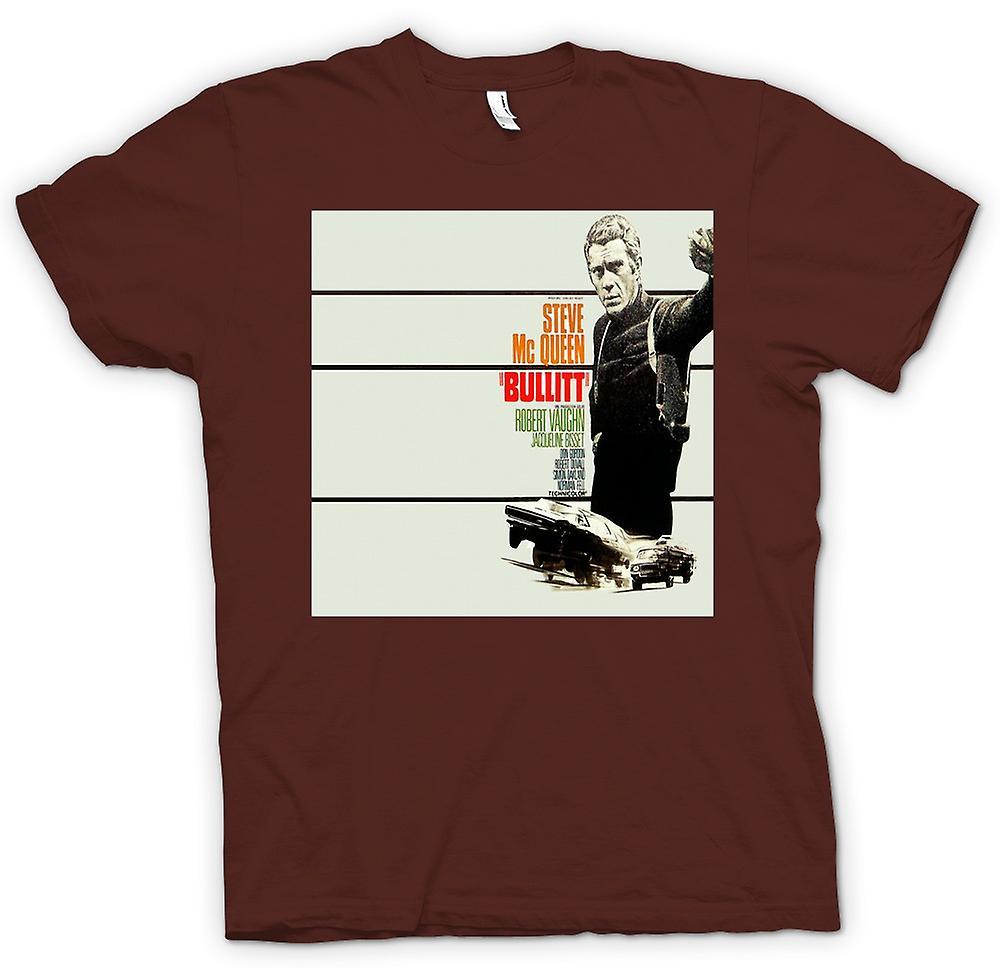 Mens t-skjorte - Steve Mcqueen - Bullit - plakat