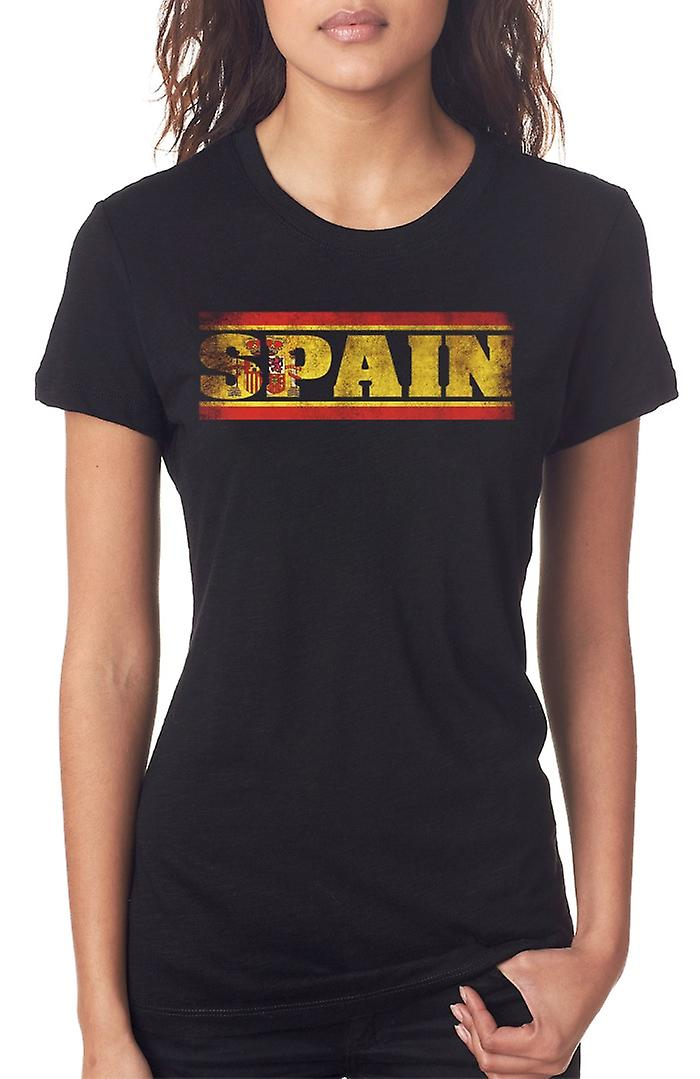 Spain Spanish Flag Words Ladies T Shirt
