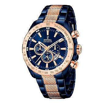 Festina Black watch cronógrafo de prestígio de esportes F16886-1