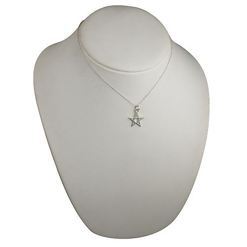 Silver 19x19mm plain Pentangle Pendant with a rolo Chain 16 inches Only Suitable for Children