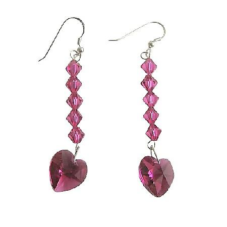 Romantic Fuchsia Heart Swarovski Crystal Sterling Silver 92.5 Earrings