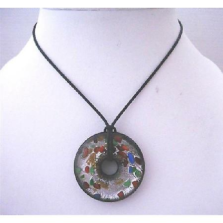Painted Murano Glass Round Glass Pendant Painted Black Chord Necklace