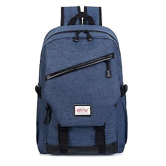 Spacious Backpack with details in faux leather-dark blue