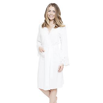 Cyberjammies 4144 Women's Ella White Dressing Gown Loungewear Bath Robe Kimono
