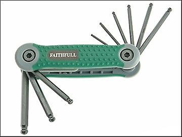 Faithfull Ball End Hexagon Key Folding Set of 9 Imperial (5/64 - 1/4in)