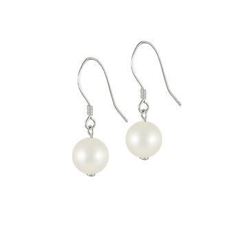 Ewige Kollektion Oyster weiß Süßwasser Perlen Sterling Silber Tropfen Ohrhänger