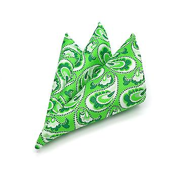 Lime green & white paisley floral modern pocket square