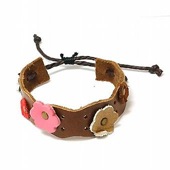 The Olivia Collection Adjustable Brown Genuine Leather Wristband with Flowers