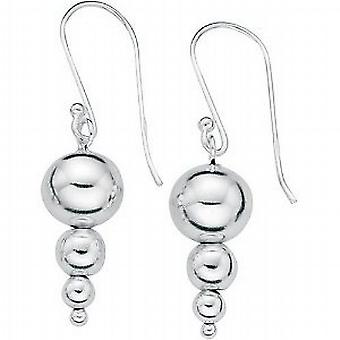 Elements Sterling Silver Trilogy Ball Drop Graduating Drop Earrings