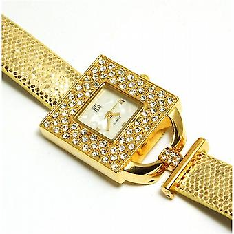 Yess Gold Ladies Square Cz Set Crocodile Effect Strap Dress Watch F45365