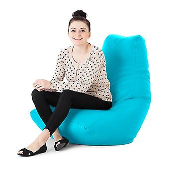 Turquoise Faux Leather Gaming Highback Bean Bag Lounger Chair
