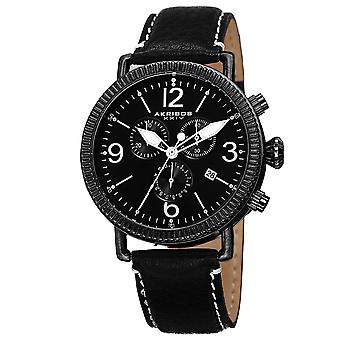 Akribos XXIV AK753SS Swiss Chronograph reloj de cuero genuino