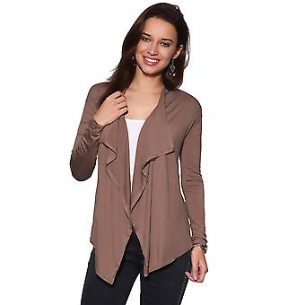 KRISP  Womens Ladies Cardigan Asymmetric Hem Waterfall Jersey Long Sleeve