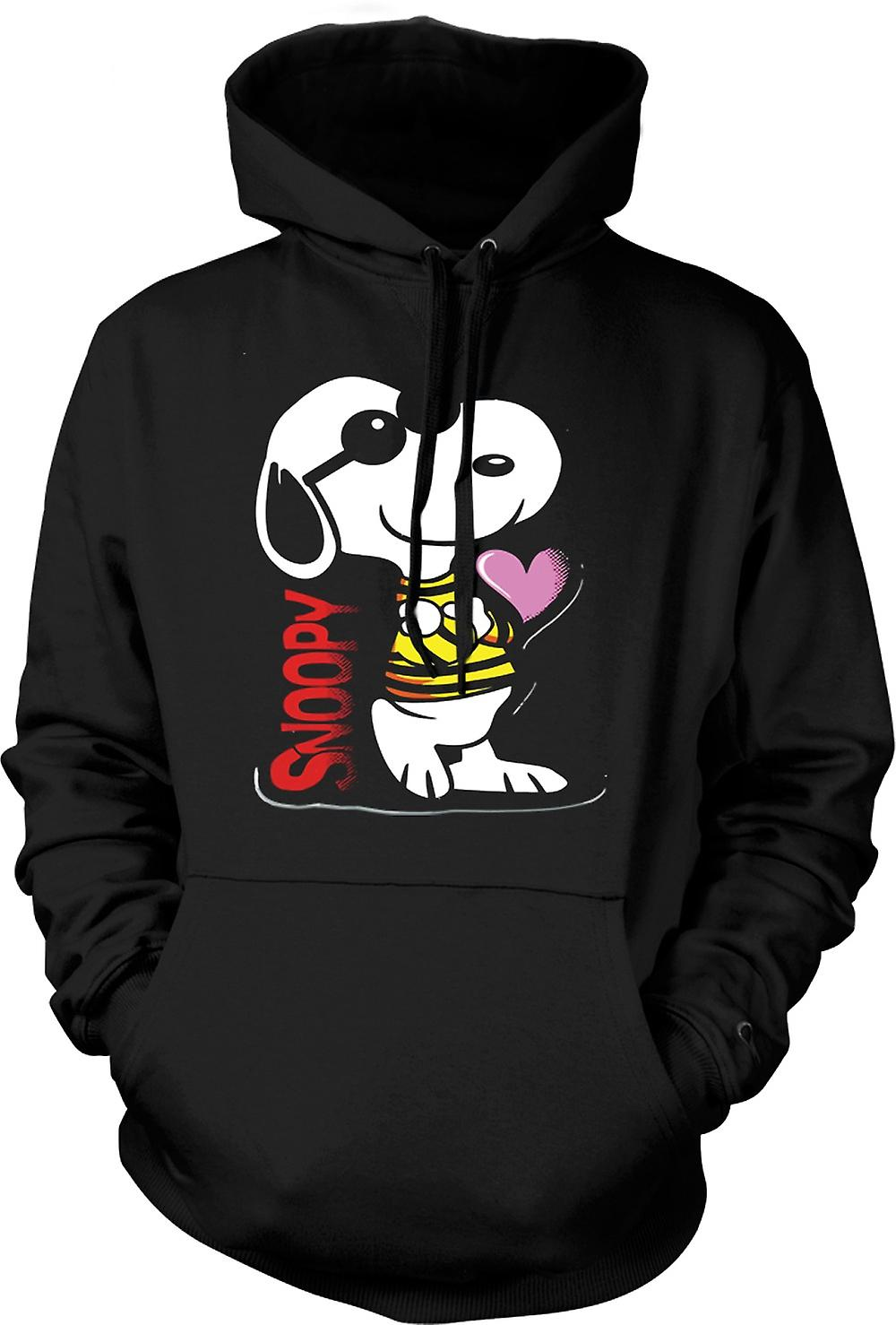 Mens Hoodie - Snoopy Cartoon With Heart
