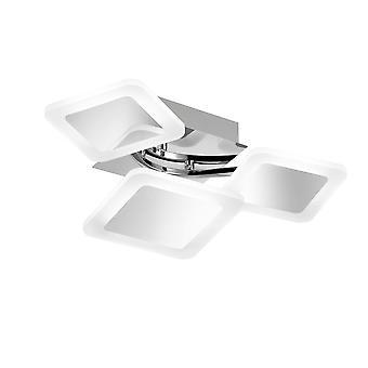 Wofi Impuls - Dimmable LED 3 Light Flush Plafond Lumière Chrome - 9157.03.01.6000