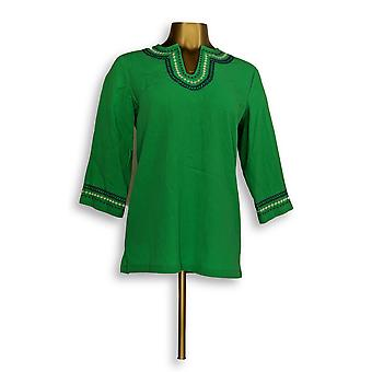Denim & Co. Women's Top XXS 3/4 Sleeve Crinkle Gauze Tunic Green A291631