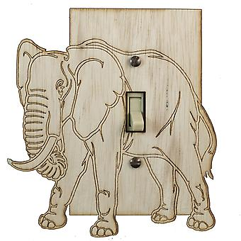 Elephant switch plate - raw wood - 5