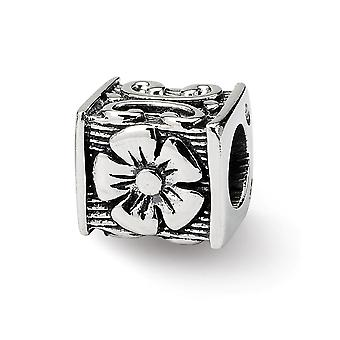 925 Sterling Silver Antique finish Reflections SimStars Floral Cube Bead Charm