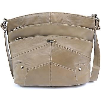 Damen / Damen Leder Schulter / Cross Body Bag mit mehreren Taschen - Tan