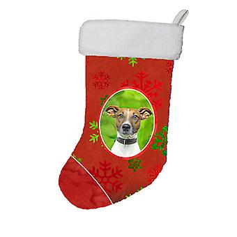 Red Snowflakes Holiday Christmas  Jack Russell Terrier Christmas Stocking