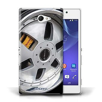 STUFF4 Case/Cover for Sony Xperia M2/Silver/Yellow/Alloy Wheels