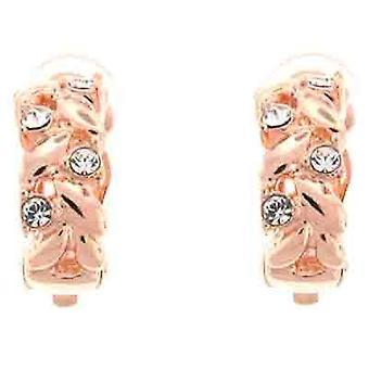 Clip On örhängen Store guld & Swarovski Crystal fläta Semi Hoop klippet på örhängen