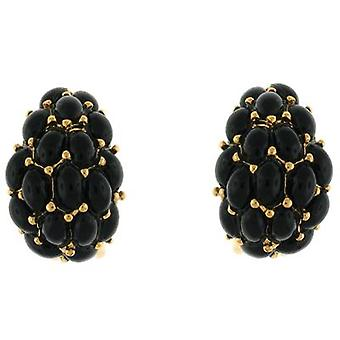 Kenneth Jay Lane Gold Plated & Black Cabochons Hoop Clip On Earrings